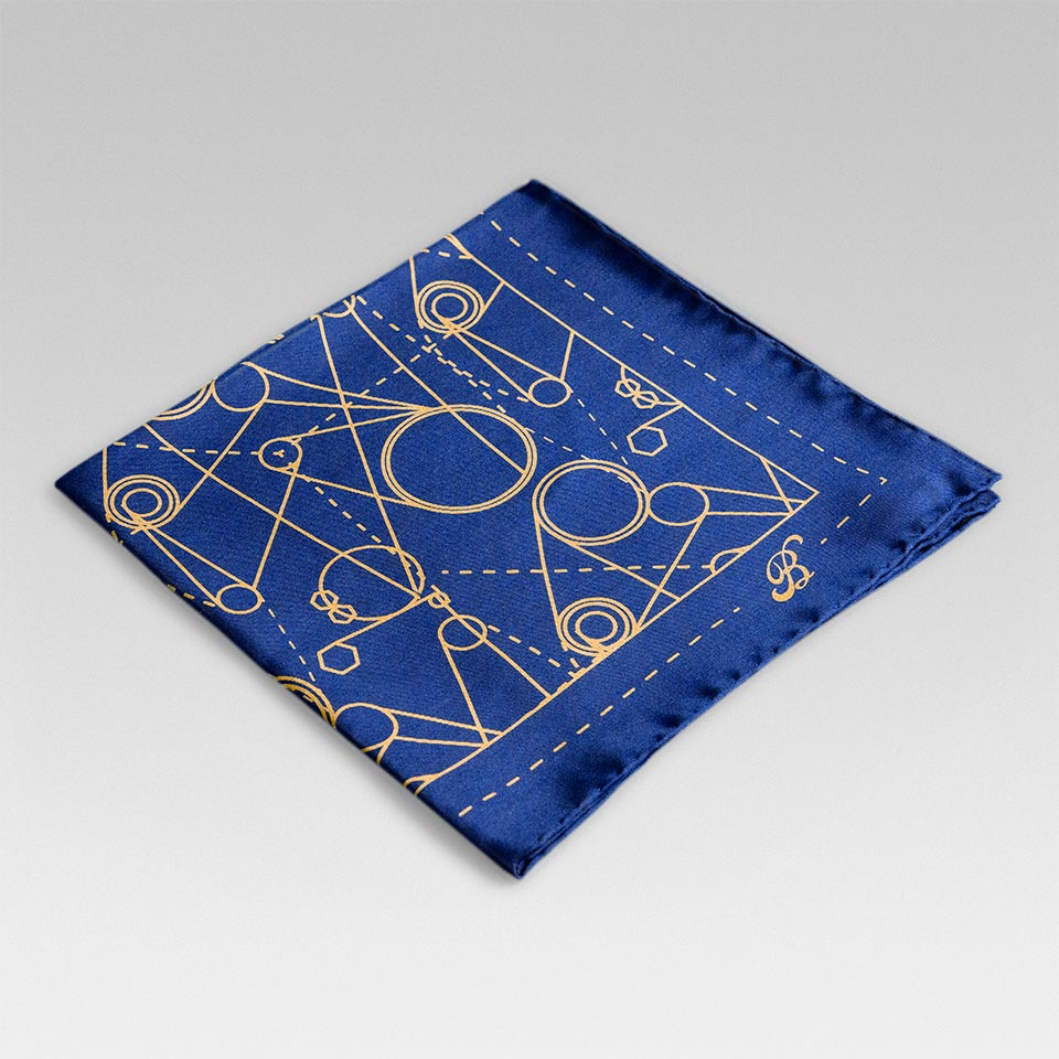 \'Blue Print\' Silk Pocket Square